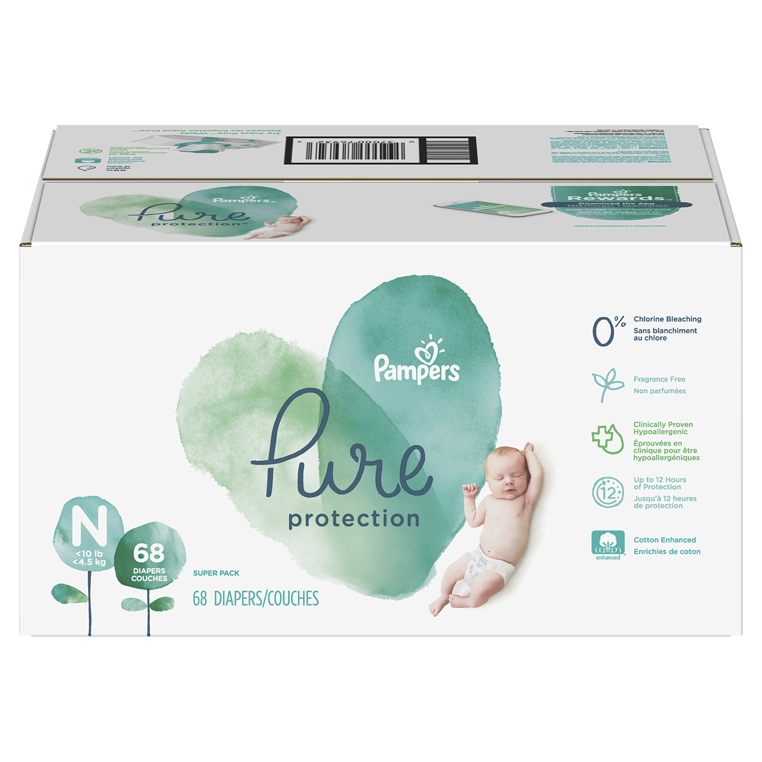 Pampers Pure Protection Newborn Disposable Diapers, Size N (< 10 lb), 68 Count