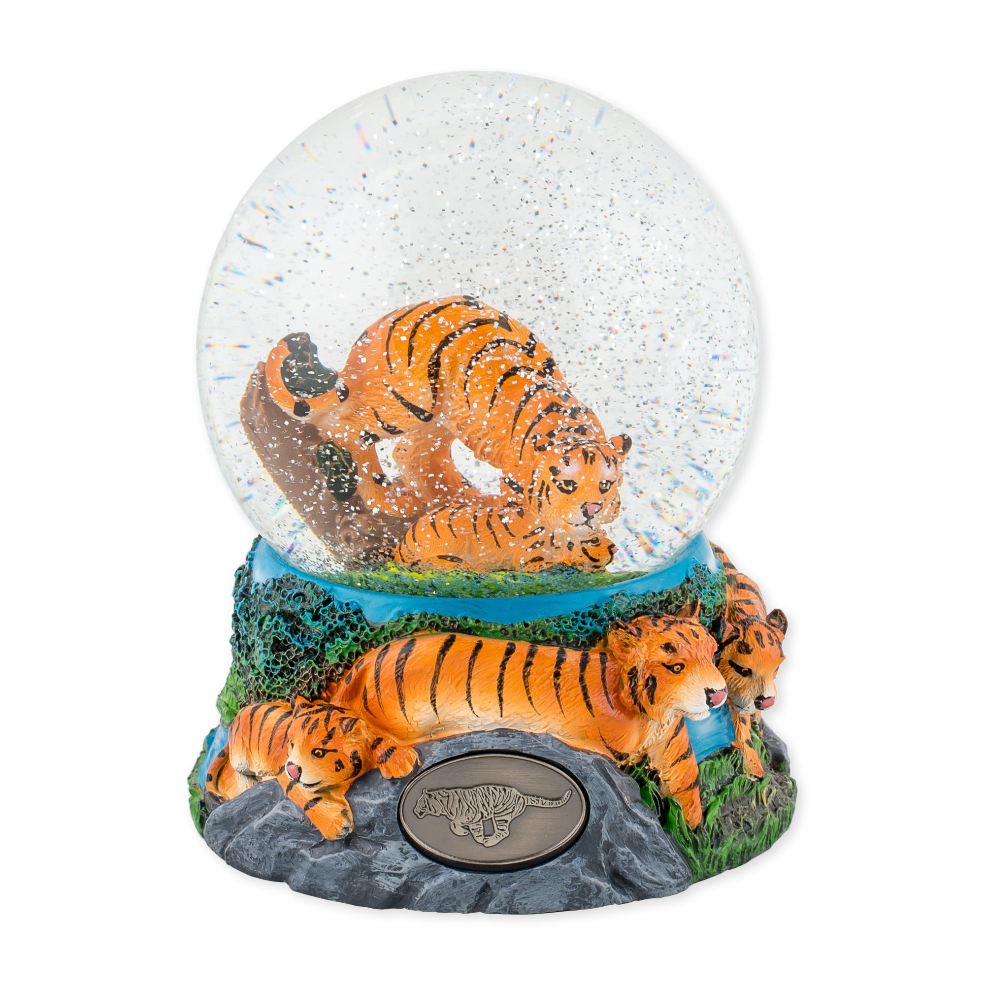 Playful Tigers 100mm Resin Glitter Water Globe Plays Tune Invitation to the Dance