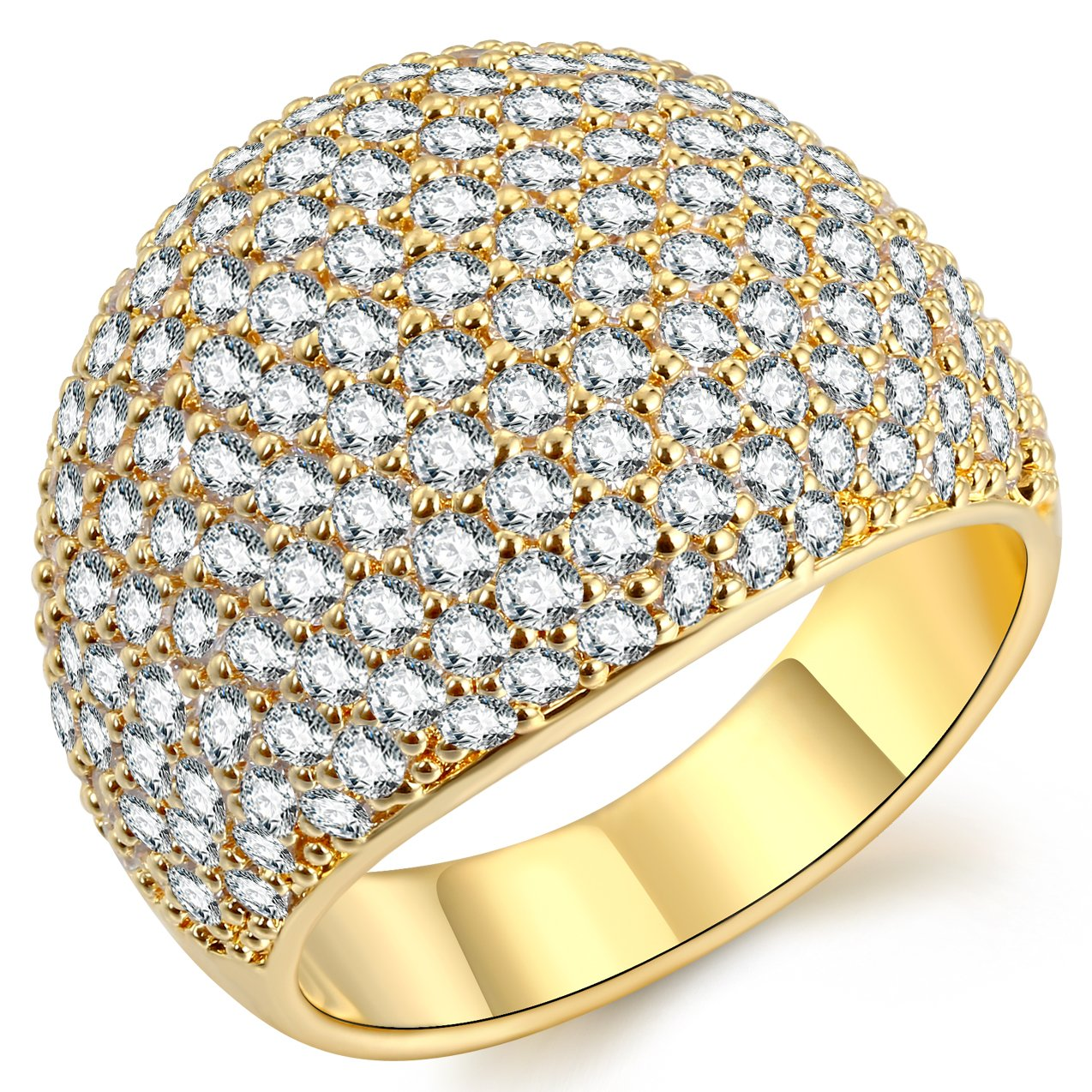 Gold Diamond Accent Dome Ring - Fine Polish Full Pave Cubic Zirconia Big Hollow Women Wedding Band Statement Ring 5-11
