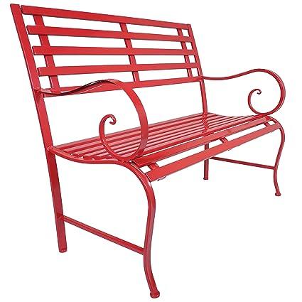 Titan Outdoor Antique Red Metal Bench Chair Porch Patio Garden Deck Decor - Amazon.com : Titan Outdoor Antique Red Metal Bench Chair Porch Patio
