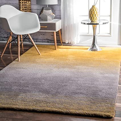 yellow shag rug nuloom hjos01a hand tufted ombre shag rug 8 10 yellow amazoncom 10
