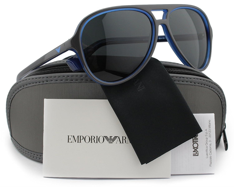 55f56c34cc9 Emporio Armani EA4063 Men Sunglasses Top Grey on Opal Blue w Crystal Grey  (5467 87) EA 4063 546787 58mm Authentic  Amazon.co.uk  Clothing