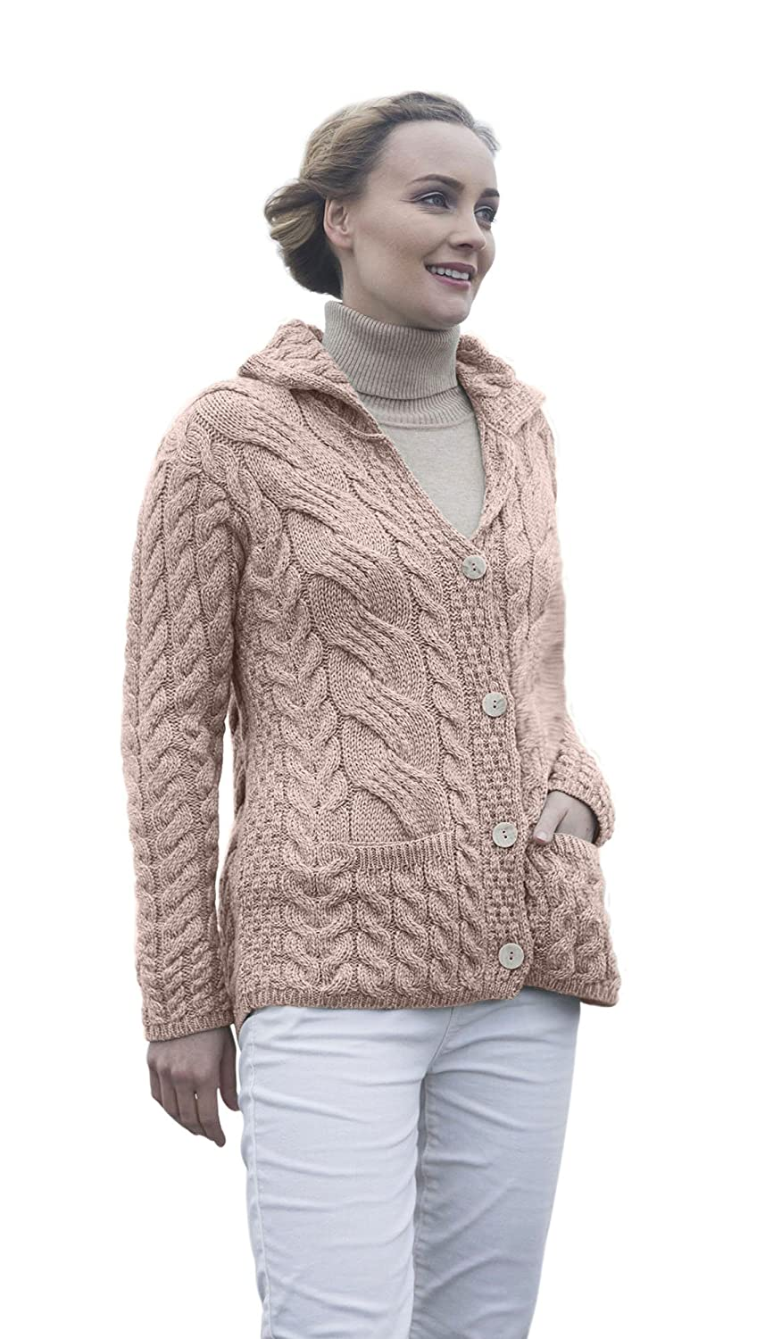Ladies Irish Buttoned Cabled Super Soft Merino Wool Cardigan