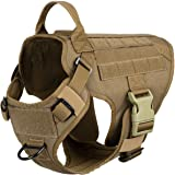 "ICEFANG Lightweighting Tactical Dog Harness with Handle,K9 Working Training Molle Vest,No-Pull Front Clip, Hook and Loop Panel for Dog ID Personalized Badge Patch (M(Chest 25""-31""), Coyote Brown)"