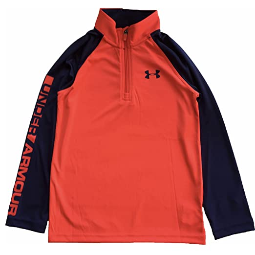 3ea0de5c Under Armour Little Boys 1/4 Zip Tech Long Sleeve Shirt Pullover (Bolt  Orange