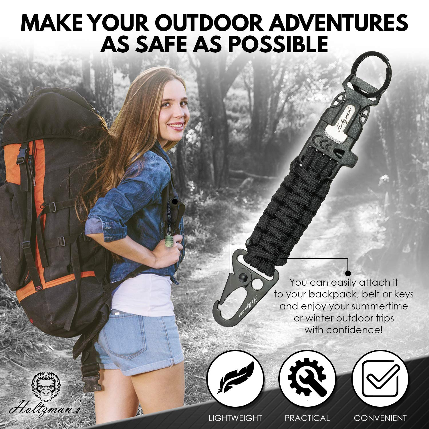 Ultimate 5-in-1 Paracord Keychain with Carabiner for Camping, Fishing, Hunting & Outdoor Emergencies | Multipurpose Survival Tool with Paracord, Emergency Whistle, Flint Rod, Cutting Tool & Key Ring by Holtzman's Gorilla Survival (Image #3)