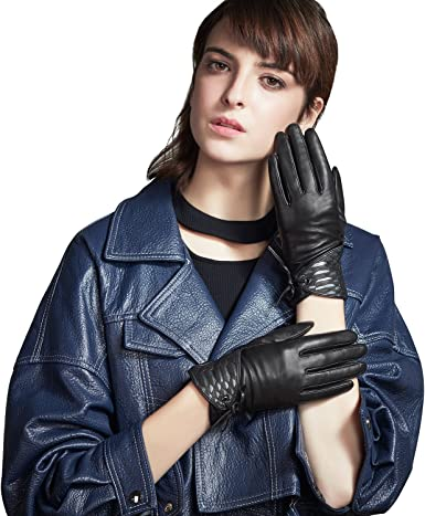 New Women/'s Leather Dress Gloves Warm Winter Gloves Black Brown Leather Gloves