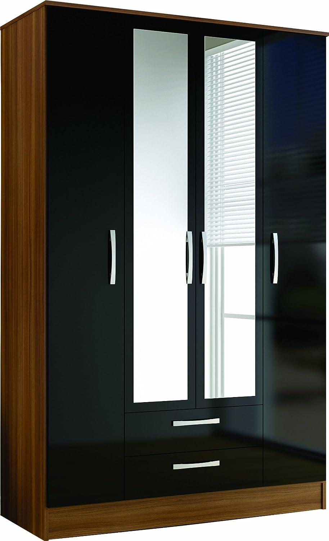 Birlea Lynx  Drawer Wardrobe With Mirror High Gloss Walnut And Black Amazon Co Uk Kitchen Home