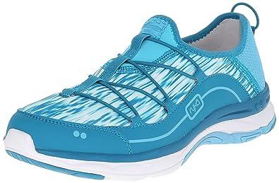 RYKA Women's Feather Pace Slip On Walking Shoe, Detox Blue/Enamel Blue/Mint