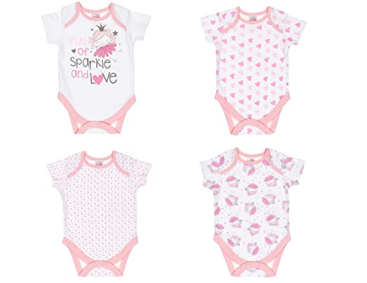 7adac21c8c4d KXA Baby Girl Bodysuit Pink Fairy 4 Pack Body Suits Short Sleave ...