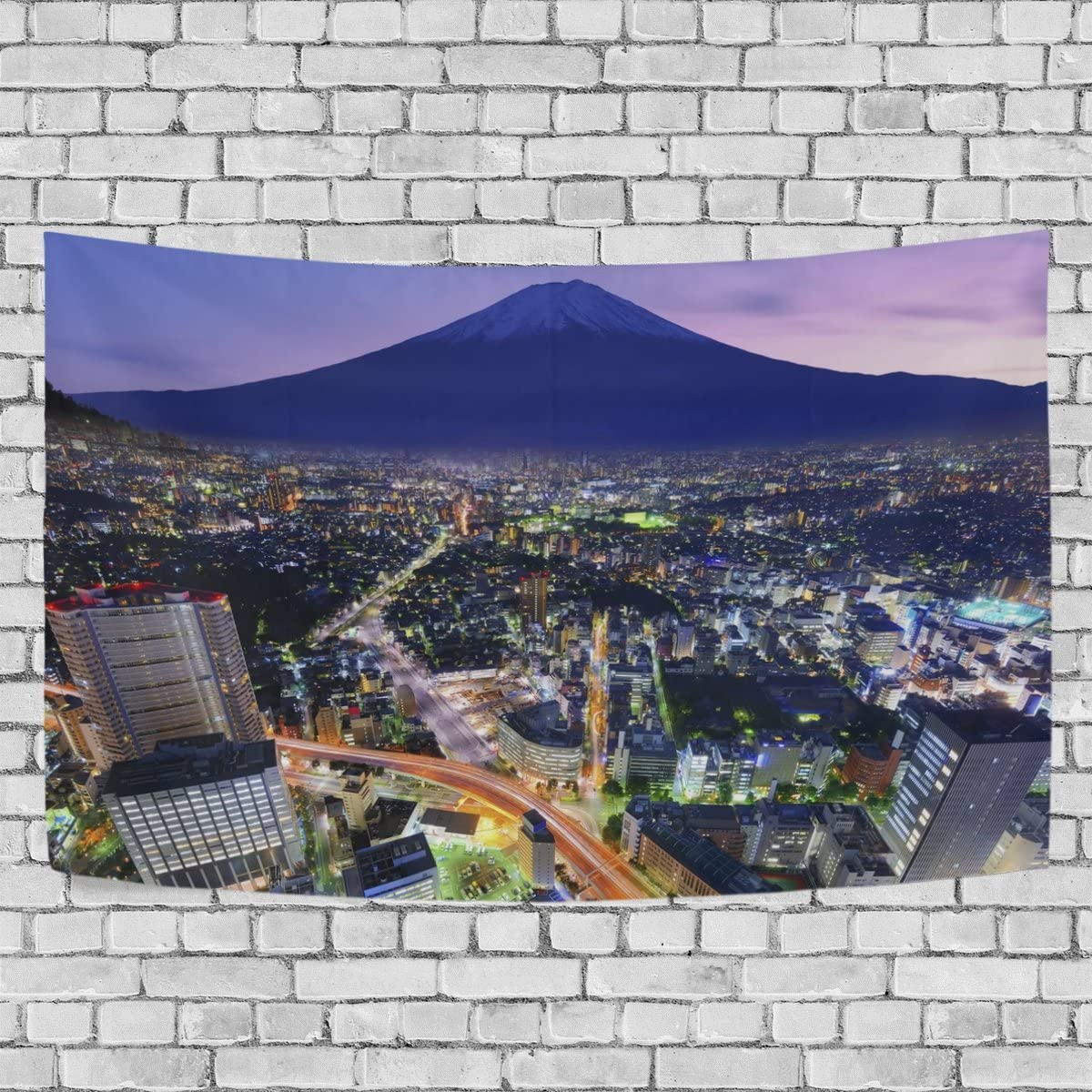 WALLD Ethel Ernest Mt. Fuji And Flourishing City Yokohama Wall Art Decorative, Wall Hanging Tapestry for Bedroom Living Room Dorm Decoration,60 X 40 Inches