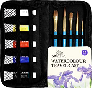 PHOENIX Watercolor Paint Set with Zip Carry Case - Paint and Brush Set Travel Pack with 5 Horsehair Brushes & 5 Tubes of Watercolor Paints