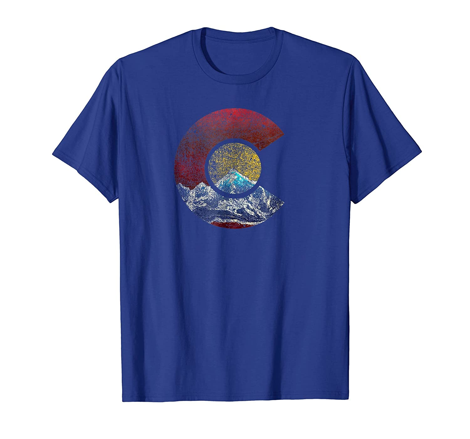Colorado Shirt with Flag Themed Mountain-mt