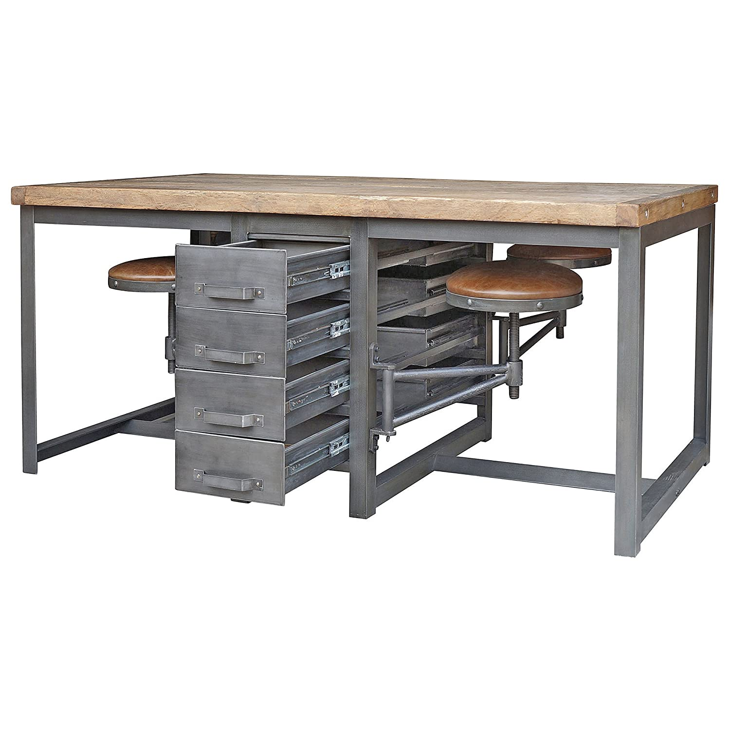 work table office. Amazon.com: Wilkes Industrial Loft Reclaimed Pine Iron 4 Swivel Stools Desk Dining Table: Kitchen \u0026 Work Table Office
