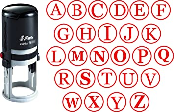 Custom A-Z Alphabet Stamp in Red Ink Monogram Round Rubber Stamp Self Inking Initial Stamp COLOP Mini Stamper 12 mm