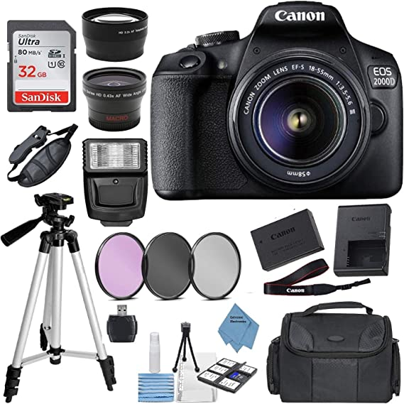 Canon EOS 2000D Digital SLR Camera w/ 18-55MM DC III Lens Kit (Black) with Accessory Bundle
