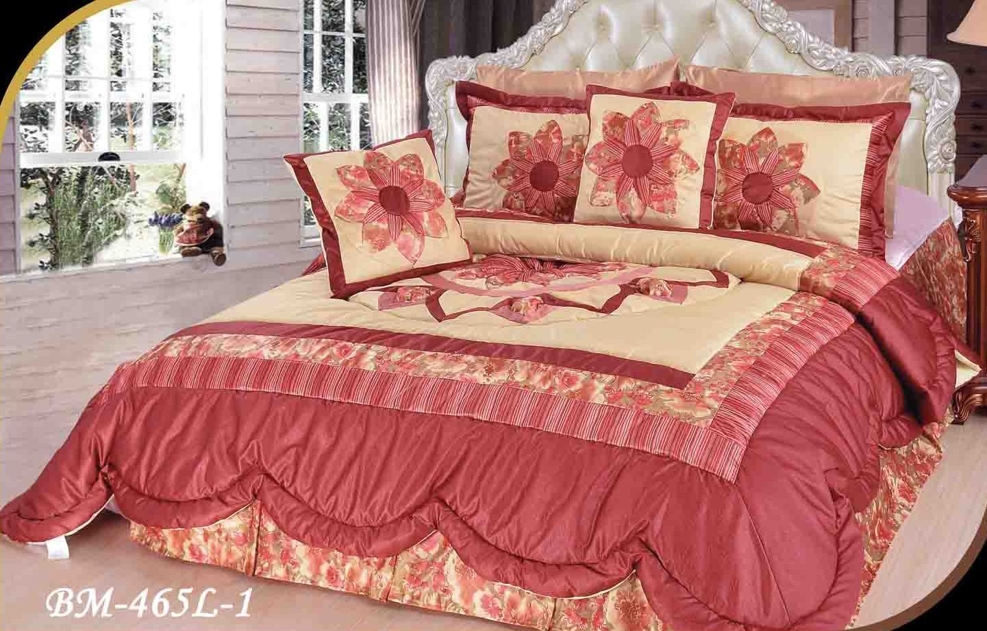 DaDa Bedding Embellished Ruffles Solar Rubies Coverlet Bedspread Comforter Set - Bordered Bright Vibrant Colorful Red & Creme Floral Medallion Print - Cal King - 5-Pieces