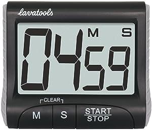 Lavatools KT1 Digital Kitchen Timer & Stopwatch, Large Digits, Loud Alarm, Magnetic Stand (Black) (Color: Black)