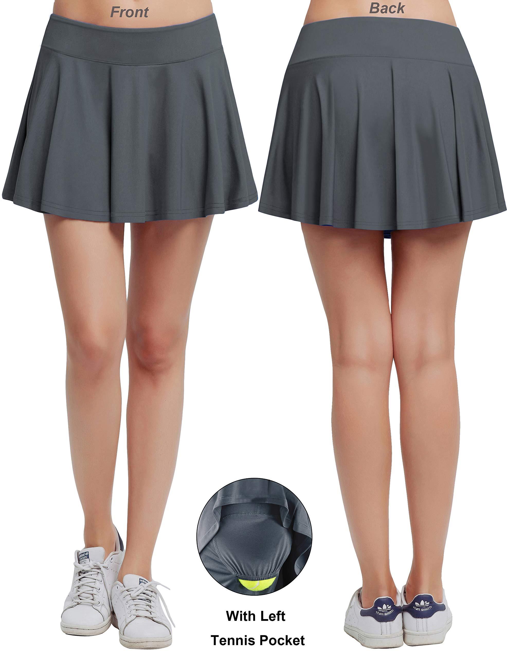 Women's Fitness Pleated Skirts Active Running Tennis Golf Lightweight Skorts With Built-In Shorts size Medium (Grey)