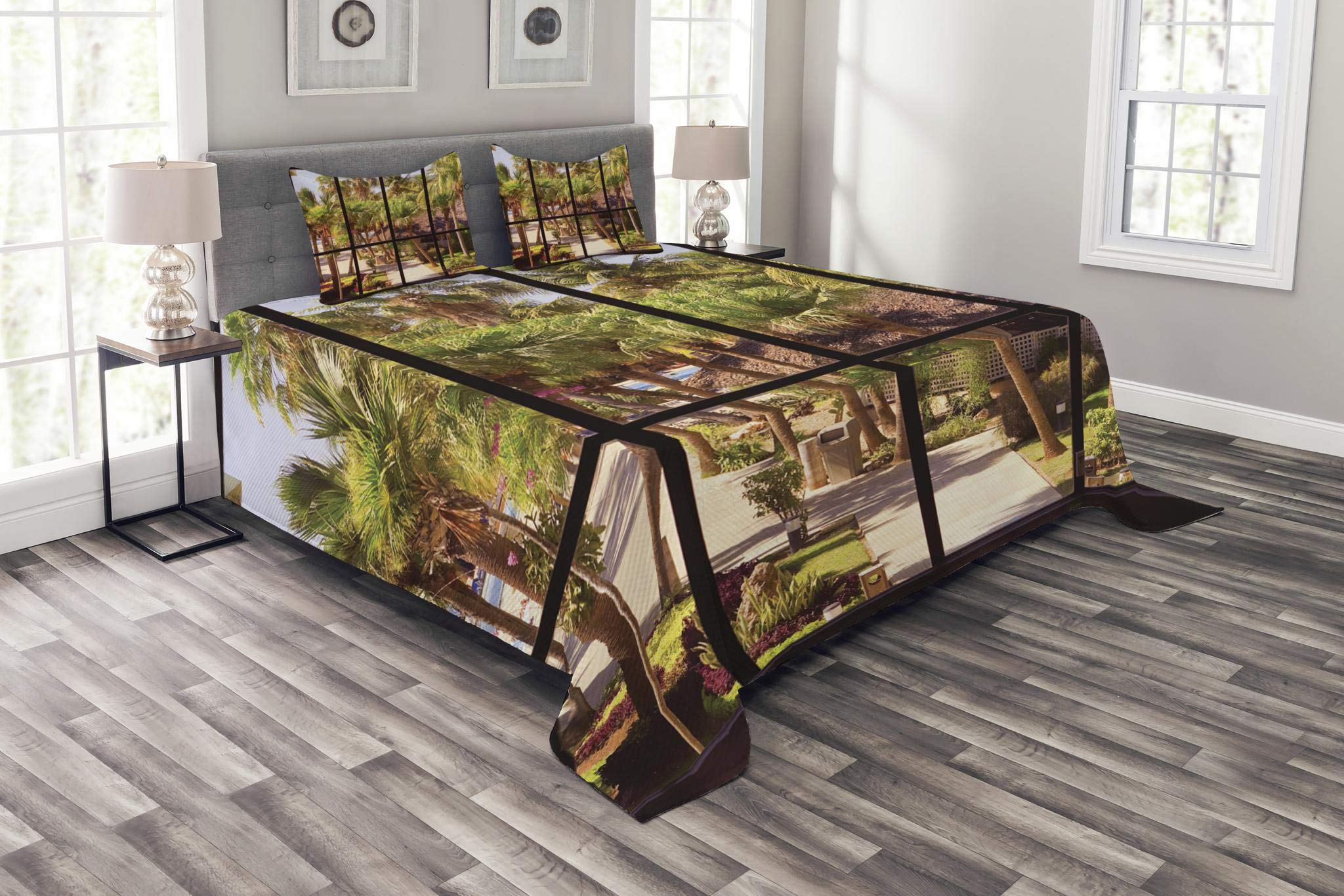 Lunarable Tropical Bedspread Set King Size, View of Tropical Garden Through a Panoramic Window Summertime Palm Tree, Decorative Quilted 3 Piece Coverlet Set with 2 Pillow Shams, Green Black Brown