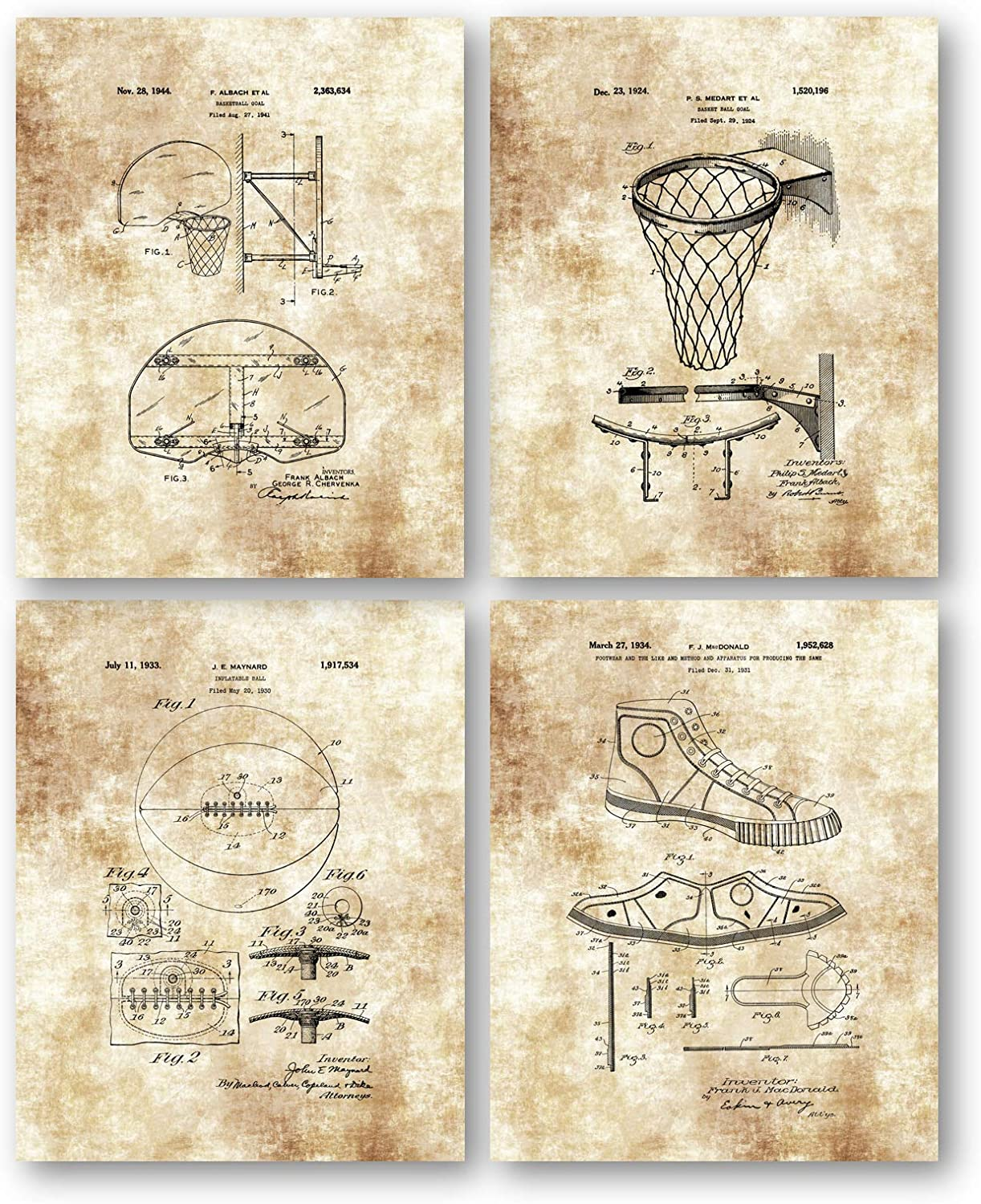 Ramini Brands Original Basketball Patent Art Drawing- Set of 4 8 x 10 Unframed Prints - Great Gift for Coaches, Basketball Players - Mancave, Office and Locker Room Decor