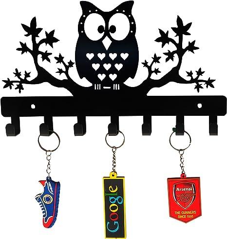 HeavenlyKraft Owl on Maple Trees Steel Key Holder