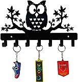 HeavenlyKraft Owl on Maple Trees Steel Key Holder, Steel Key Rack, Metal Key Cabinet, Owl Key Hanger, Medal Hanger…
