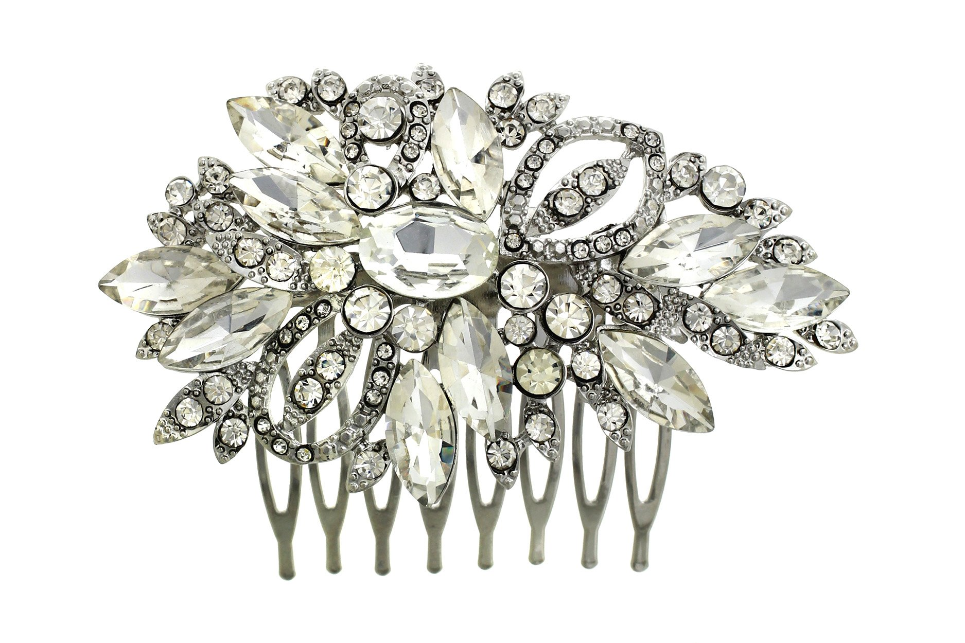Rosemarie Collections Women's Bridal Headpiece Silver Tone Glass Crystal Hair Comb