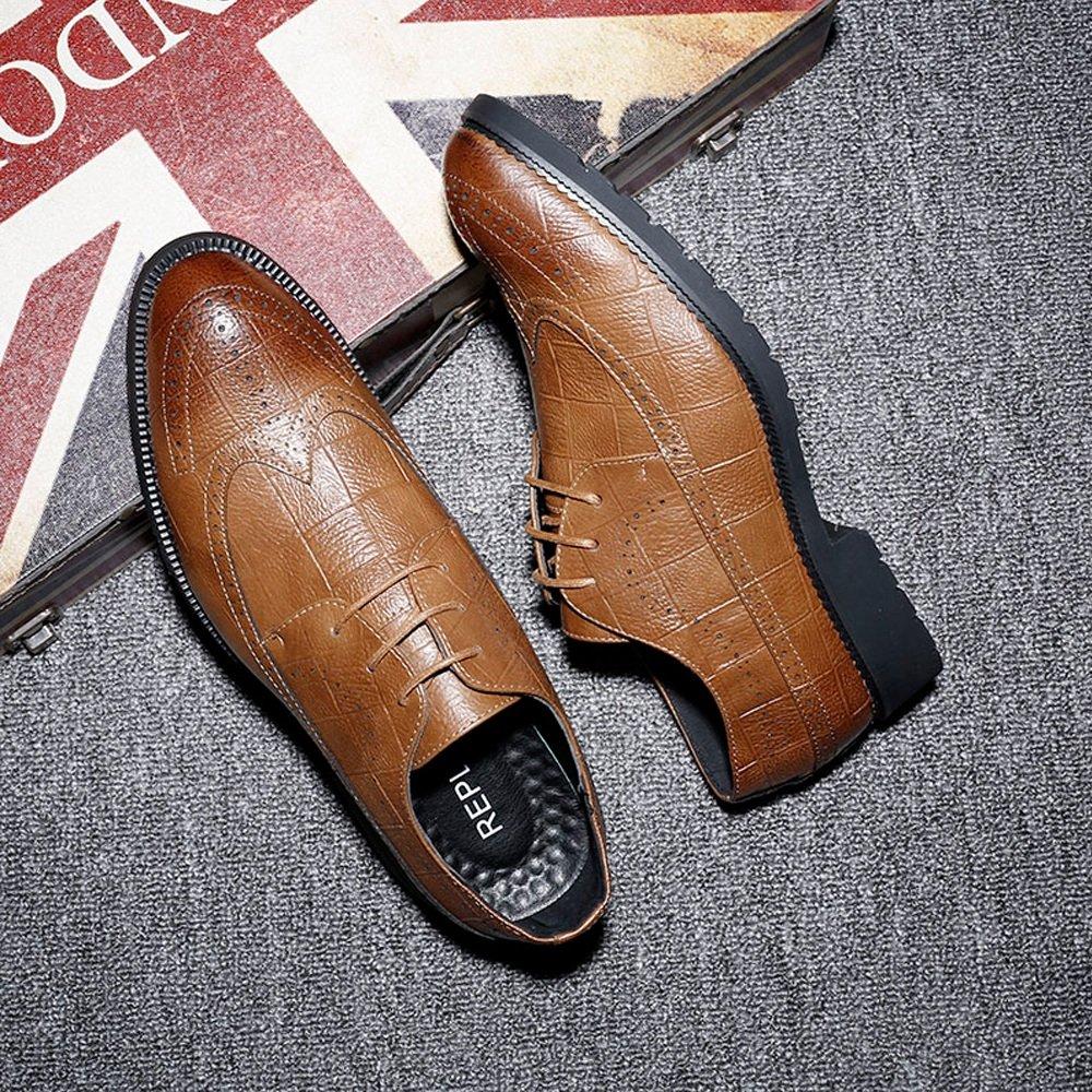 IWGR Herren Classic PU Leder Brogue Schuhe Schuhe Schuhe Classic Lace Up Atmungsaktiv Formal Business Gefüttert Oxfords Atmungsaktiv (Farbe   Braun, Größe   6.5MUS) 6fc8c3