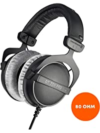 beyerdynamic DT 770 PRO 80 Ohm Over-Ear Studio Headphones in black. Enclosed design, wired for professional recording and...