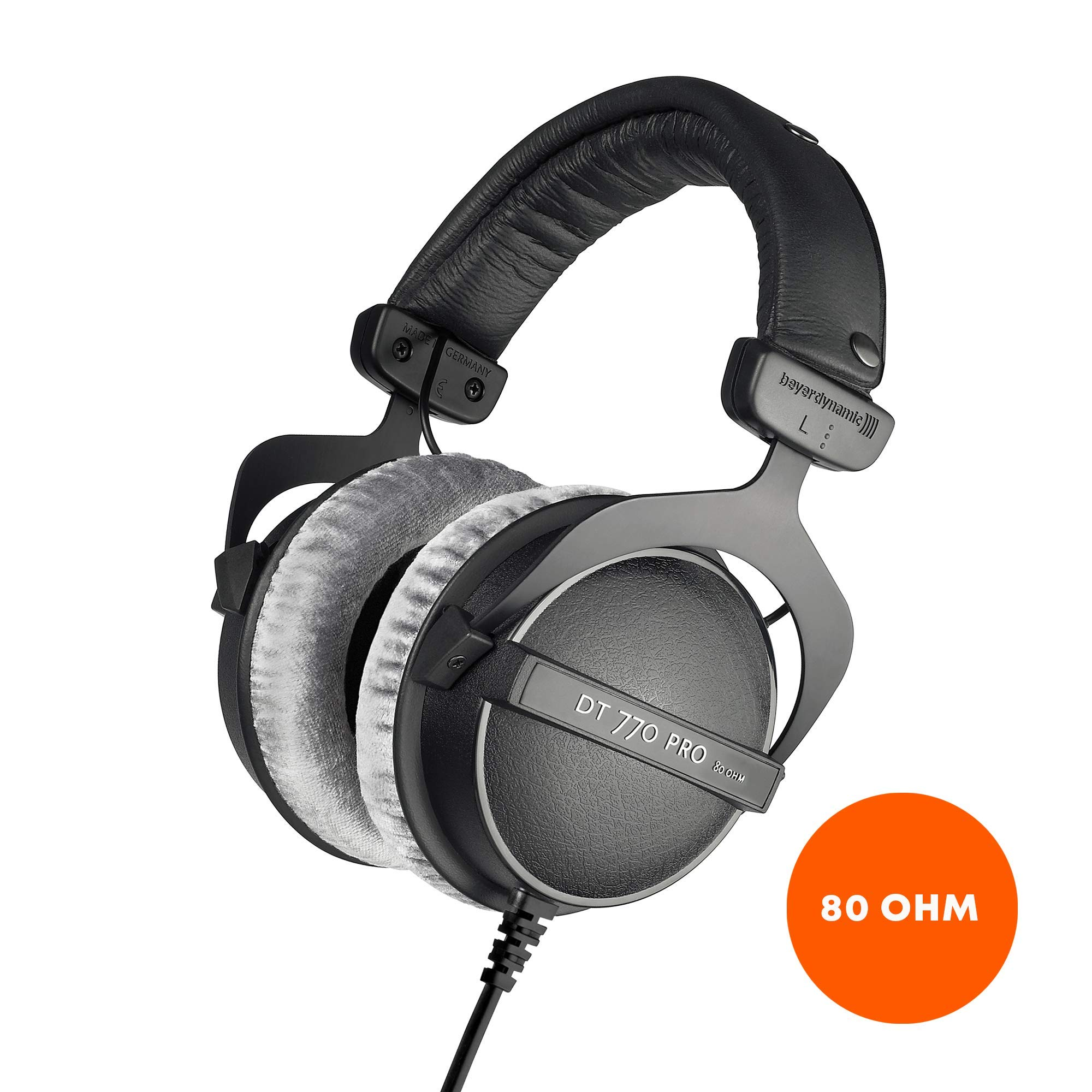 beyerdynamic DT 770 PRO 80 Ohm Over-Ear Studio Headphones in black. Enclosed design, wired for professional recording and monitoring by beyerdynamic