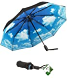 Repel Windproof Travel Umbrella with Teflon Coating (Blue Sky)