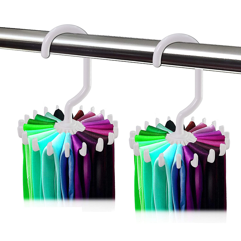 Dseap 2 Pack 360 Degree Rotating Twirl Tie Rack Adjustable Tie Belt Hanger Holder Hook Ties for Closet Organizer Storage (Black)