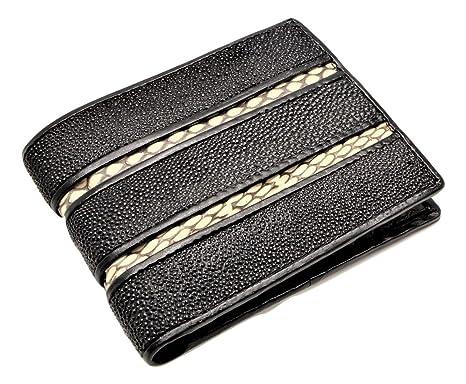 Natural Stingray skin & python strip python interior Wallet