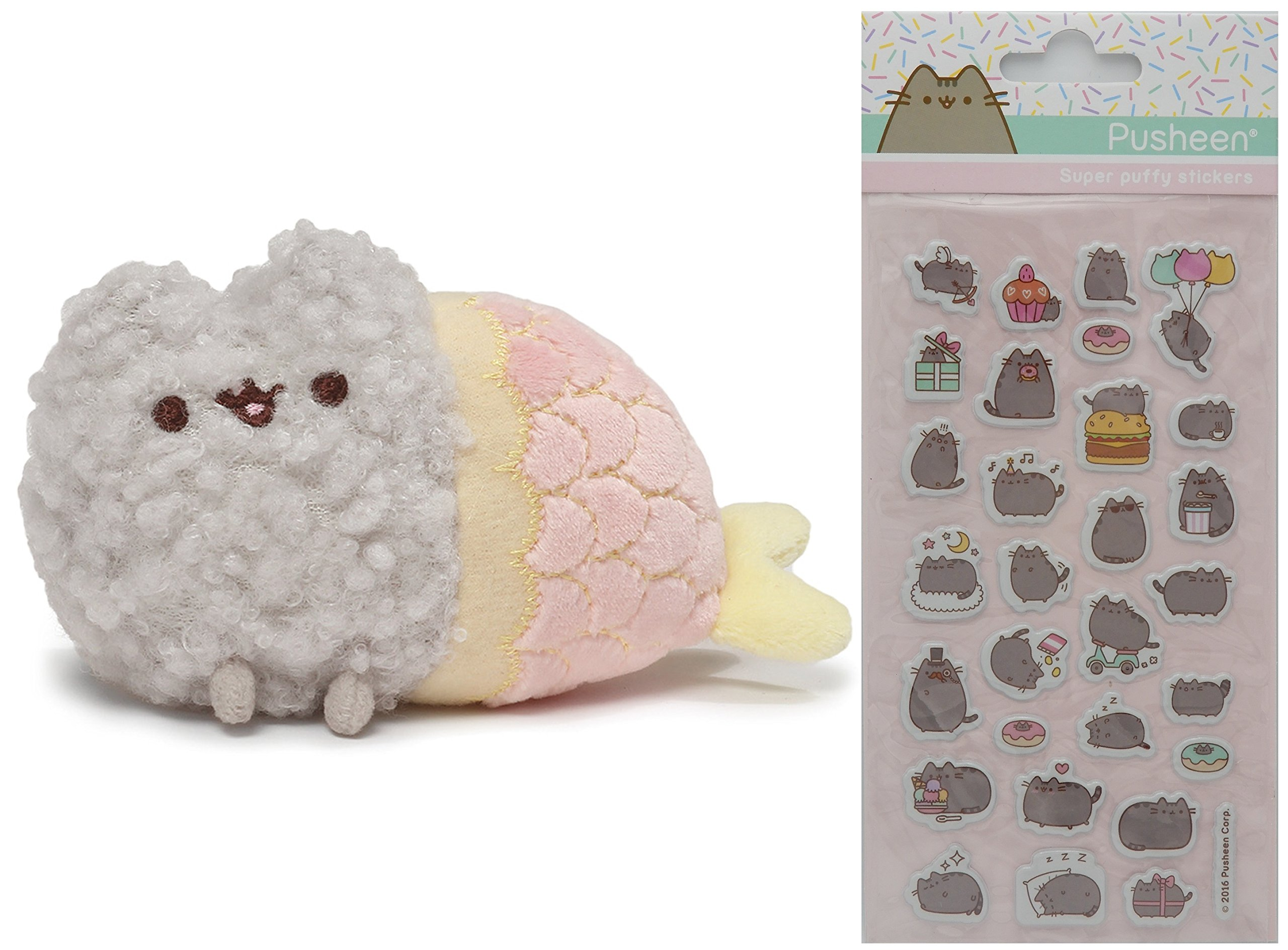 Gund Pusheen Mermaid Stormy 4.75'' Plush with Pusheen Super Puffy Stickers by Pusheen