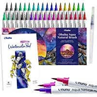 Ohuhu Professional Watercolor Brush Markers Pens Set, 36 Colors Water-Based Paint Marker With 12-Sheet Watercolor Pad…