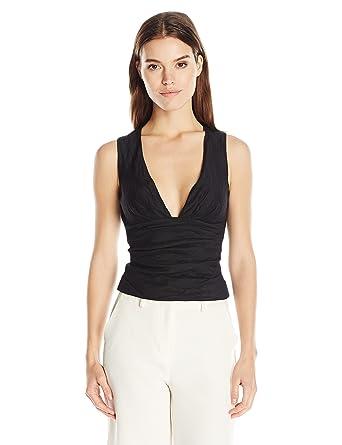 0aff6054f2974 Nicole Miller Women s Cotton Metal Low Neck Tuck Top at Amazon ...