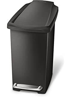 simplehuman slim step trash can black plastic 10l 26 gal