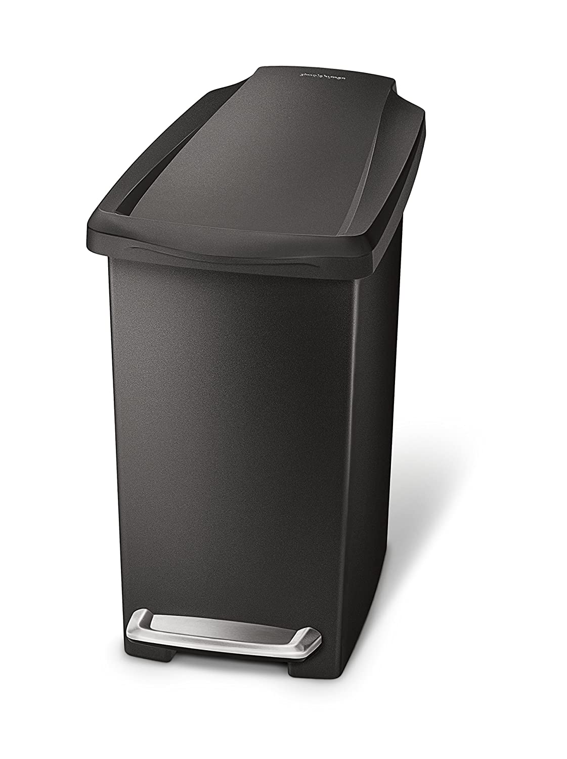simplehuman 10 Liter / 2.6 Gallon Compact Slim Bathroom or Office Step Trash Can, Black Plastic