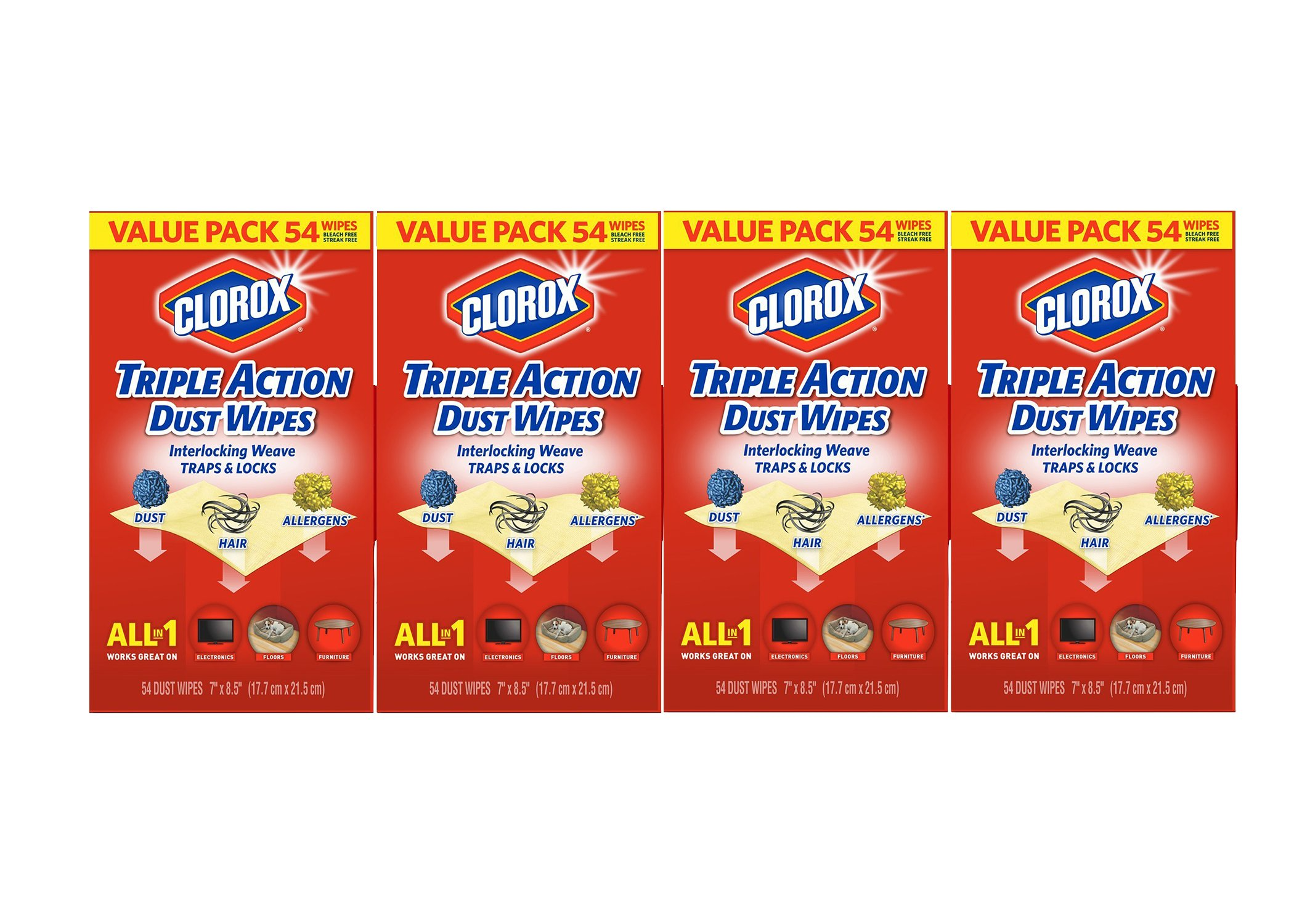Clorox Triple Action Dust Wipes - 4 Pack - 54 Each (216 Wipes)
