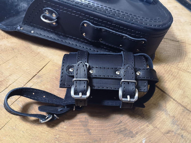 FORTUNA BLACK Satteltasche von ORLETANOS kompatibel mit Seitentasche Schwingentasche Harley Davidson Tasche schwarz Bikertasche Fatboy Heritage Starrahmen Rahmen Schwinke linke Seite Leder