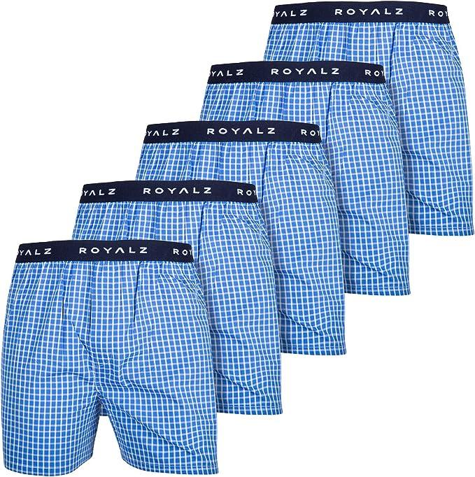 ROYALZ Calzoncillo Bóxer Americano Hombre Set de 5 Azul 100 Algodón Estilo American Style Ropa Interior Ancha Paquete 5: Amazon.es: Ropa y accesorios