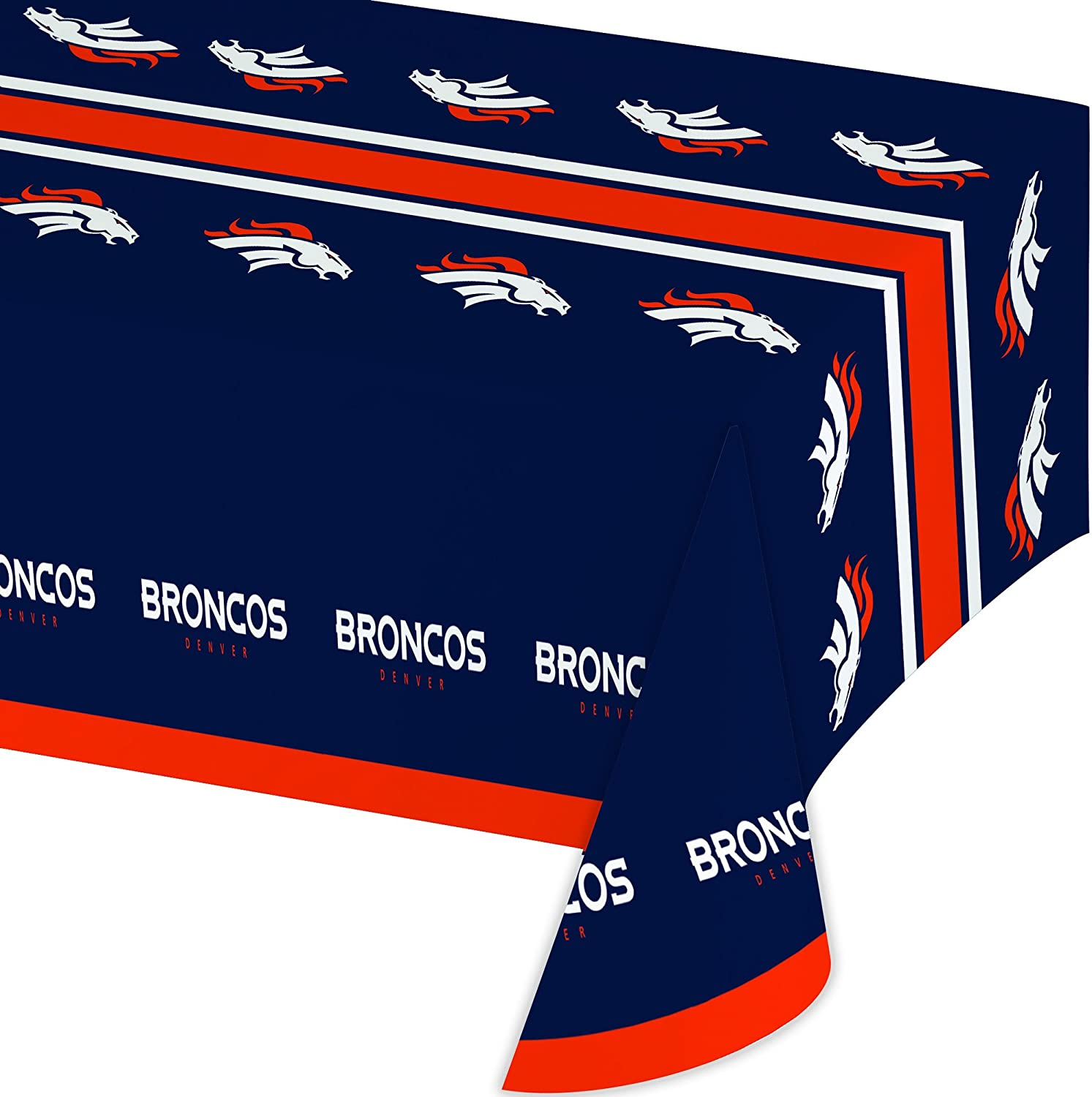 Creative Converting Officially Licensed NFL Plastic Table Cover, 54x102, Denver Broncos - 729510