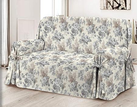 HomeLife – Cubre sillón – Elegante Protector de sofás con Flores – Funda de sofá de algodón para Proteger del Polvo, Las Manchas y el Desgaste, Fabricado en Italia – Gris: Amazon.es: Hogar