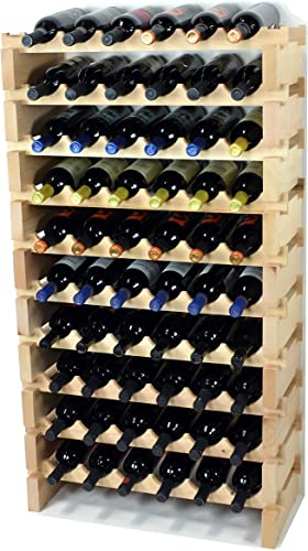 Modular Wine Rack Pine Wood 24-72 Bottle Capacity Storage 6 Bottles Across up to 12 Rows Stackable Newest Improved Model 60 Bottle