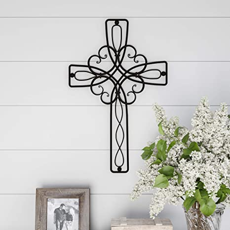 Amazon Com Lavish Home Handmade Short Flat White Mango Wood Vase Metal Cross Floral Scroll Design Rustic Handcrafted Religious Wall Art For Decor In Living Room Bedroom Home Kitchen
