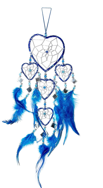 45cm x 9cm Dreamcatcher acchiappasogni cuore Blu Azzurro specchio scintillio Folie Dream Ciffre