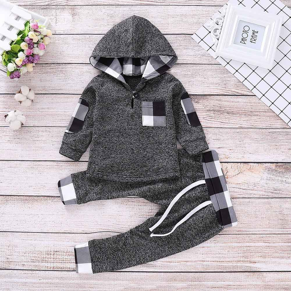 Onefa Infant Toddler Baby Boys Girls Hooded Pullover Plaid Tops Pants Outfits Set