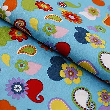 Stoff Meterware Tupfen Paisleymuster Mit Blumen Auf Türkis