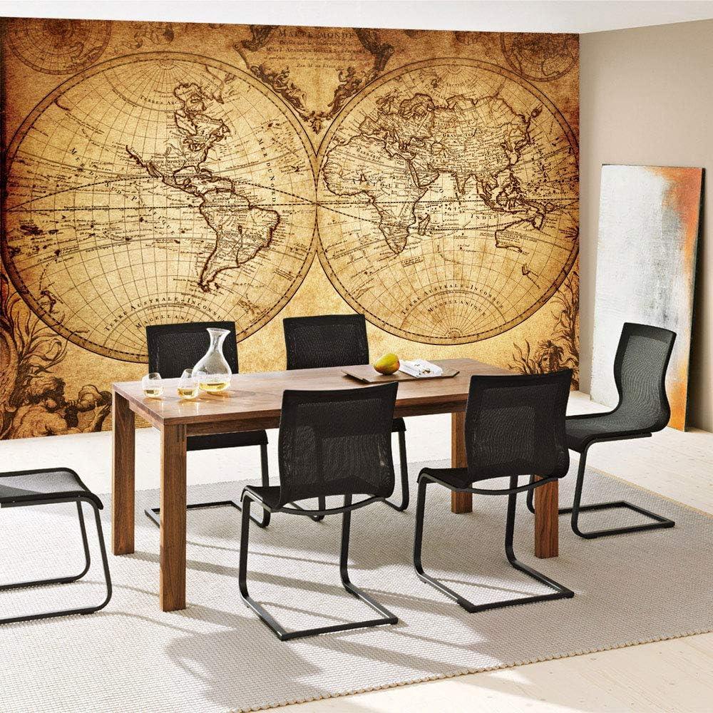 Empapelado fotográfico a modo de cuadro para la pared, en diseño de mapamundi, estilo vintage (N.º 076), Marrón, Vlies 400x280cm | PREMIUM PLUS: Amazon.es: Bricolaje y herramientas